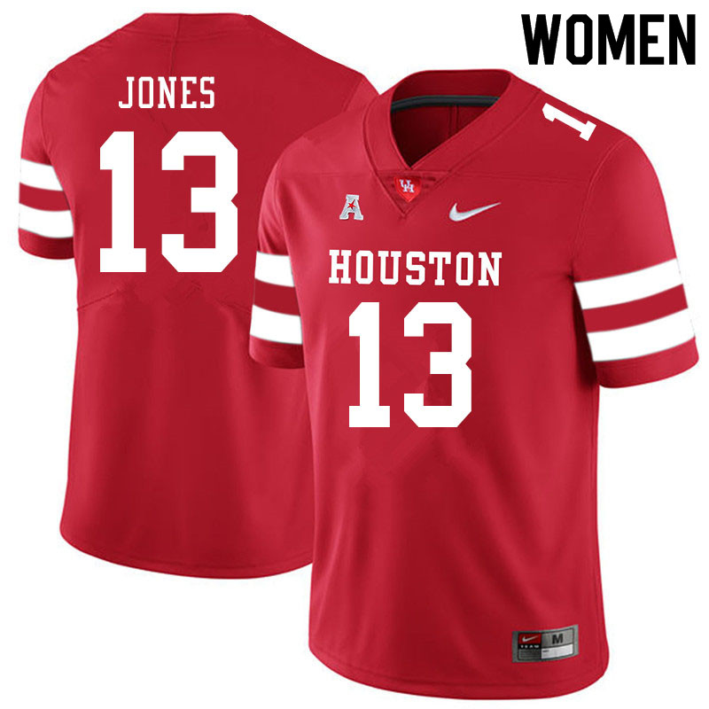 Women #13 Marcus Jones Houston Cougars College Football Jerseys Sale-Red