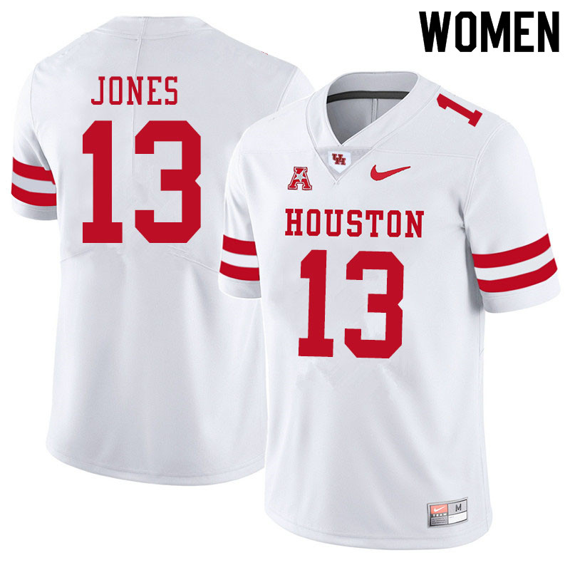 Women #13 Marcus Jones Houston Cougars College Football Jerseys Sale-White