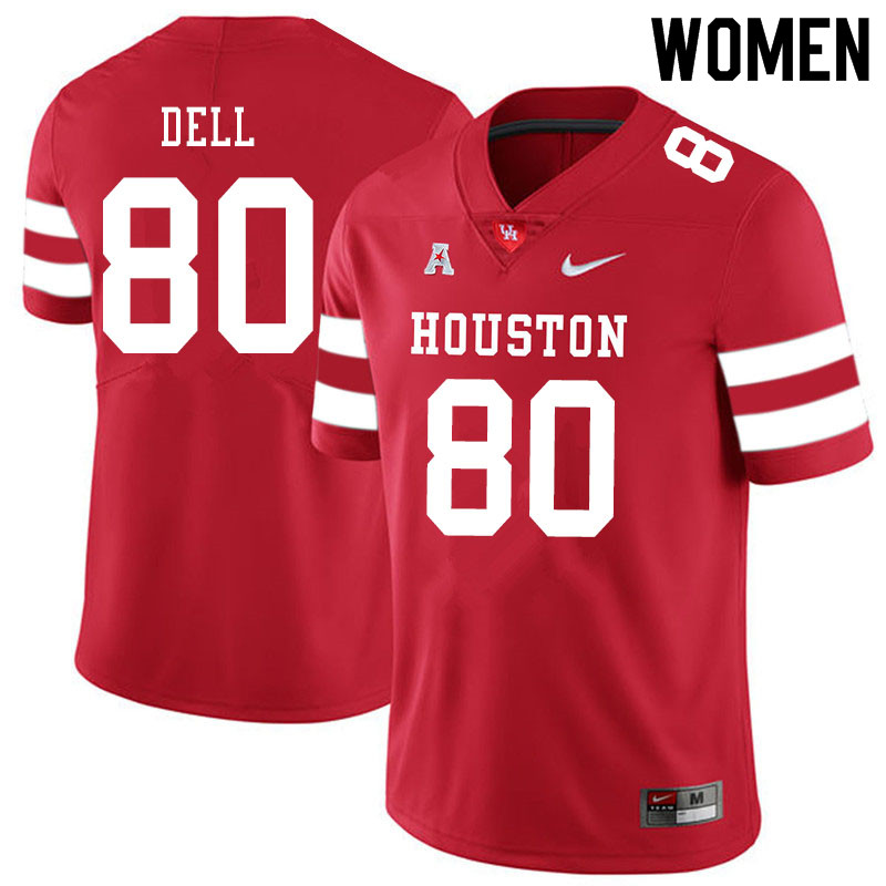 Women #80 Nathaniel Dell Houston Cougars College Football Jerseys Sale-Red