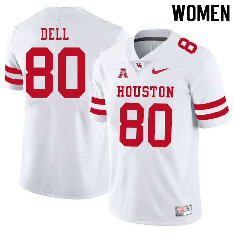 Women #80 Nathaniel Dell Houston Cougars College Football Jerseys Sale-White