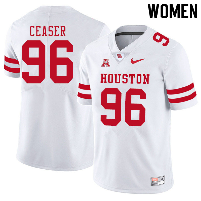 Women #96 Nelson Ceaser Houston Cougars College Football Jerseys Sale-White
