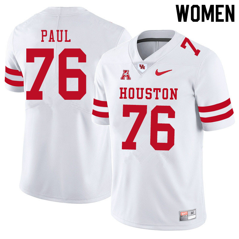 Women #76 Patrick Paul Houston Cougars College Football Jerseys Sale-White