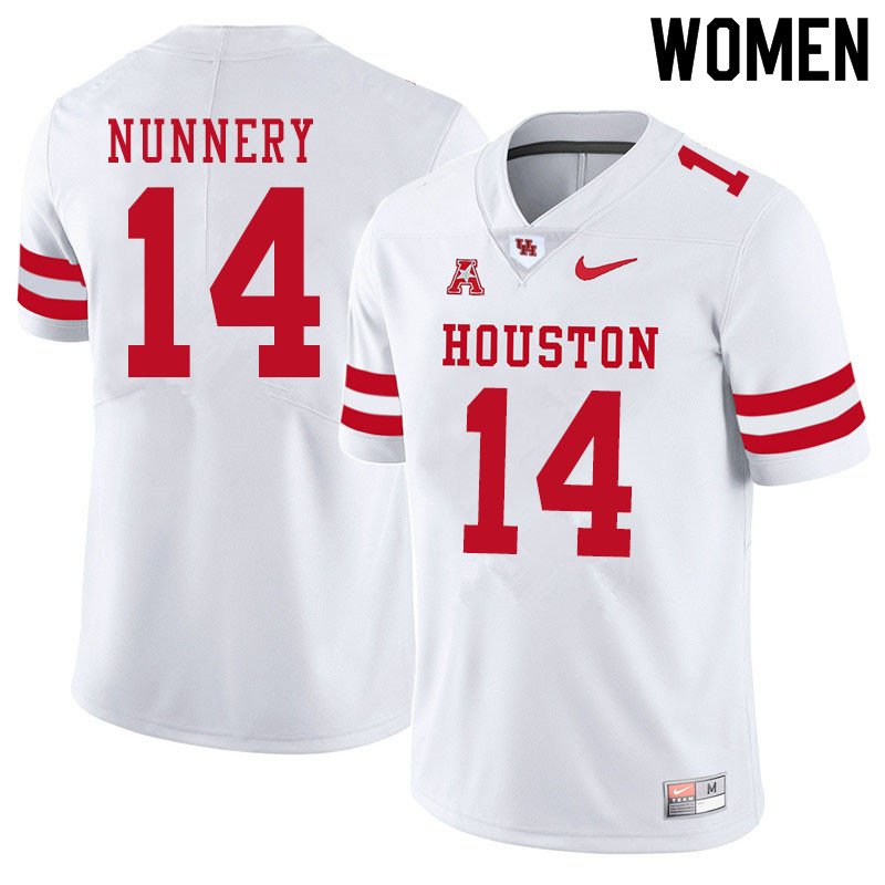 Women #14 Ronald Nunnery Houston Cougars College Football Jerseys Sale-White