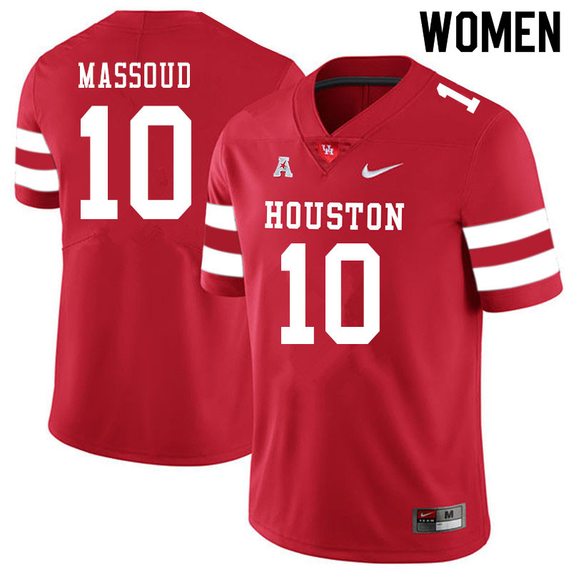 Women #10 Sofian Massoud Houston Cougars College Football Jerseys Sale-Red