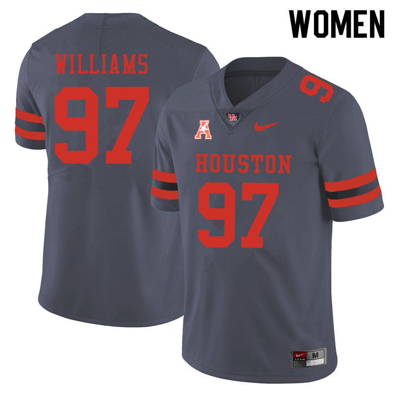 Women #97 Tre Williams Houston Cougars College Football Jerseys Sale-Gray
