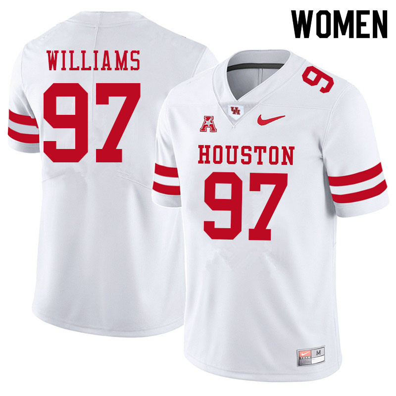 Women #97 Tre Williams Houston Cougars College Football Jerseys Sale-White