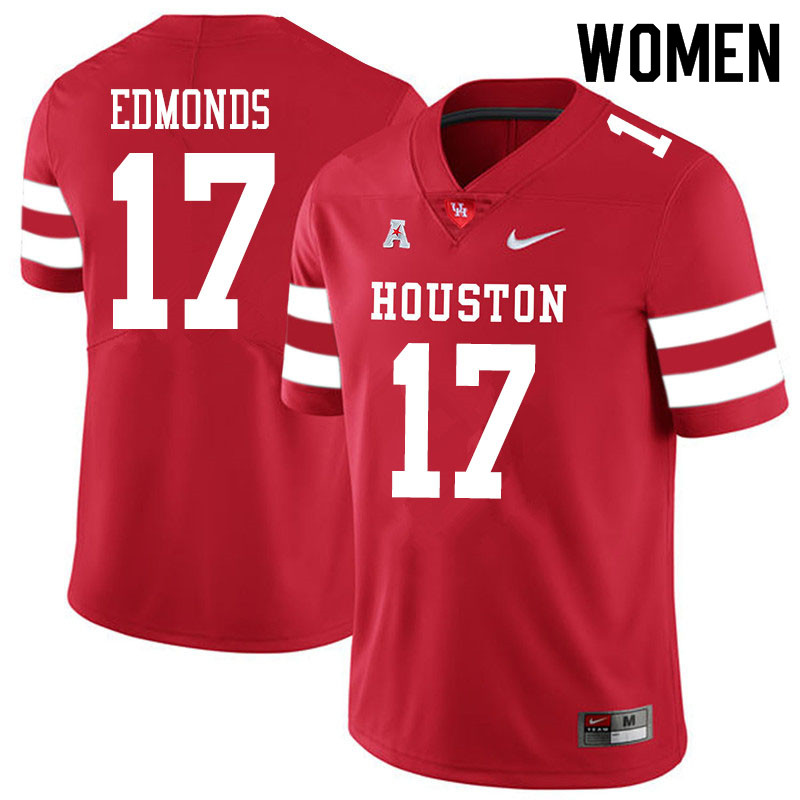 Women #17 Darius Edmonds Houston Cougars College Football Jerseys Sale-Red
