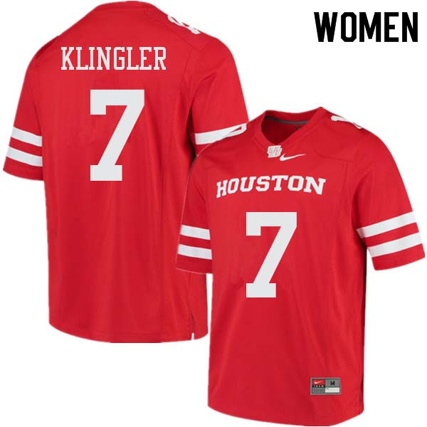 Women #7 David Klingler Houston Cougars College Football Jerseys Sale-Red