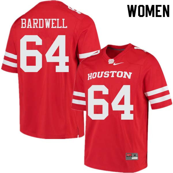 Women #64 Dennis Bardwell Houston Cougars College Football Jerseys Sale-Red