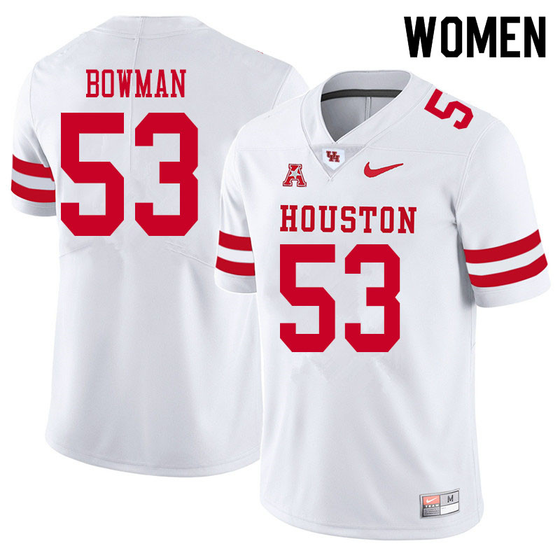 Women #53 Derek Bowman Houston Cougars College Football Jerseys Sale-White