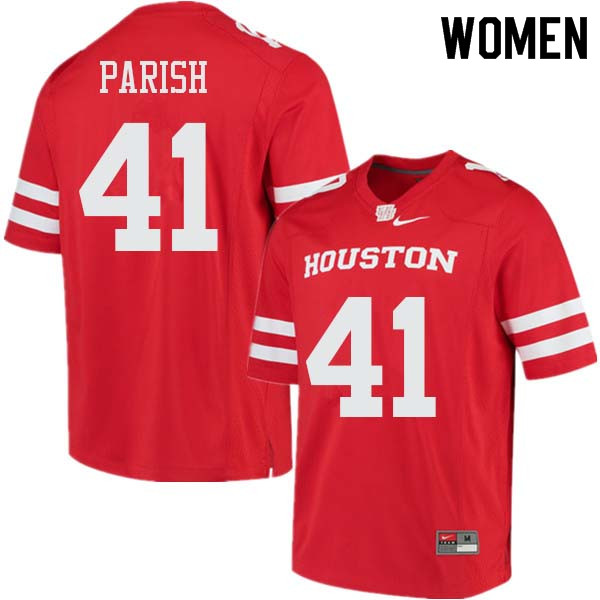Women #41 Derek Parish Houston Cougars College Football Jerseys Sale-Red