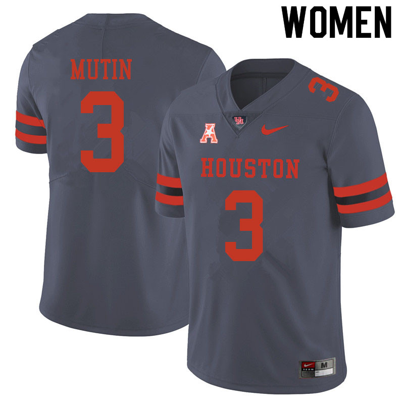 Women #3 Donavan Mutin Houston Cougars College Football Jerseys Sale-Gray