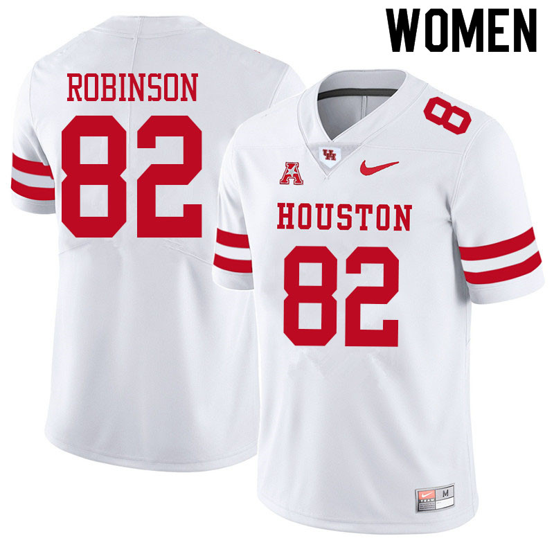 Women #82 Dylan Robinson Houston Cougars College Football Jerseys Sale-White
