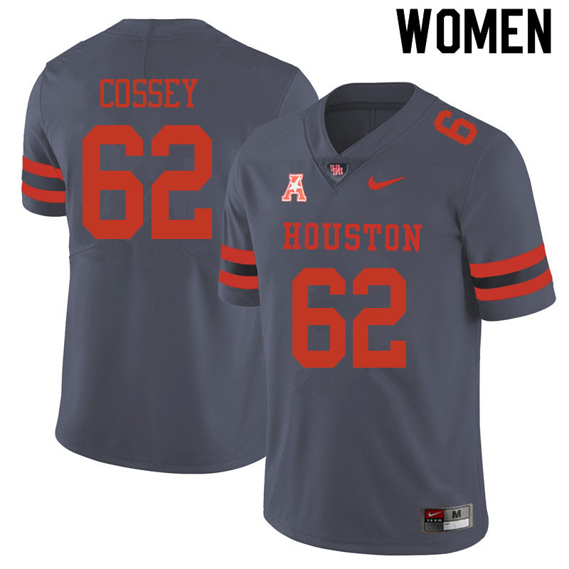 Women #62 Gabe Cossey Houston Cougars College Football Jerseys Sale-Gray