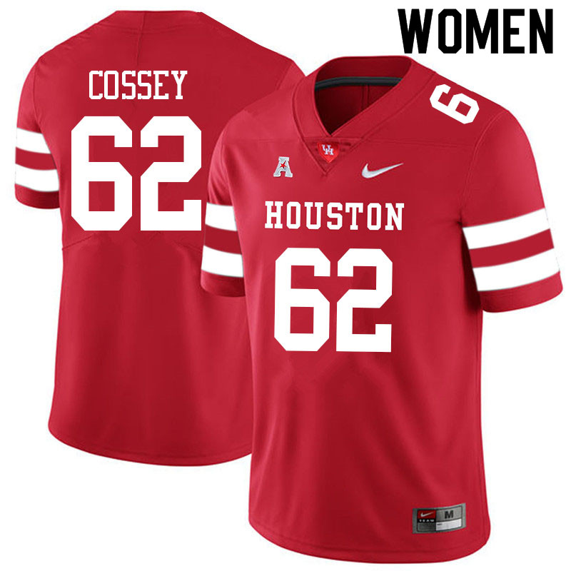 Women #62 Gabe Cossey Houston Cougars College Football Jerseys Sale-Red