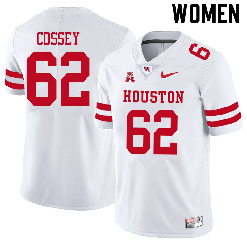 Women #62 Gabe Cossey Houston Cougars College Football Jerseys Sale-White