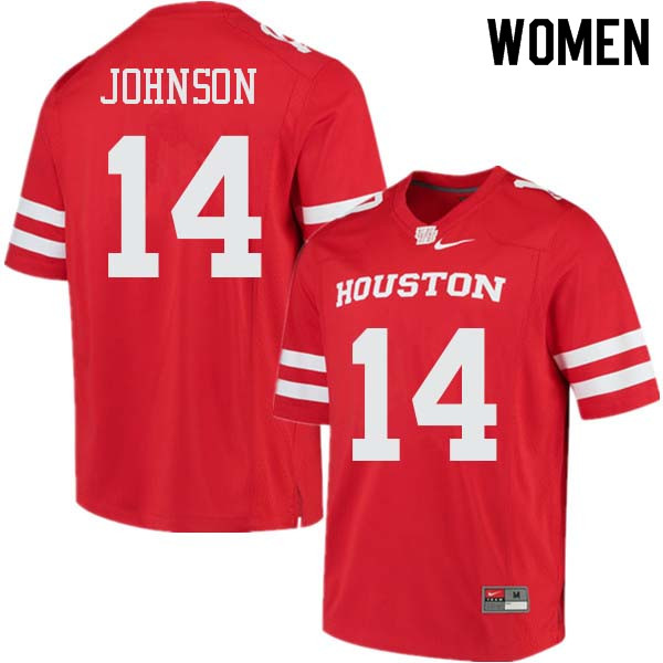 Women #14 Isaiah Johnson Houston Cougars College Football Jerseys Sale-Red