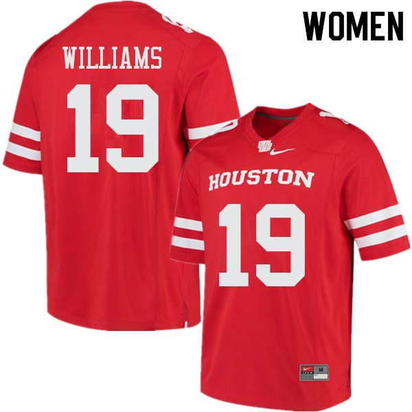 Women #19 Julon Williams Houston Cougars College Football Jerseys Sale-Red