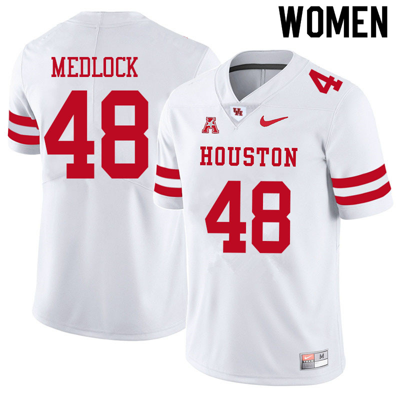 Women #48 Kayce Medlock Houston Cougars College Football Jerseys Sale-White