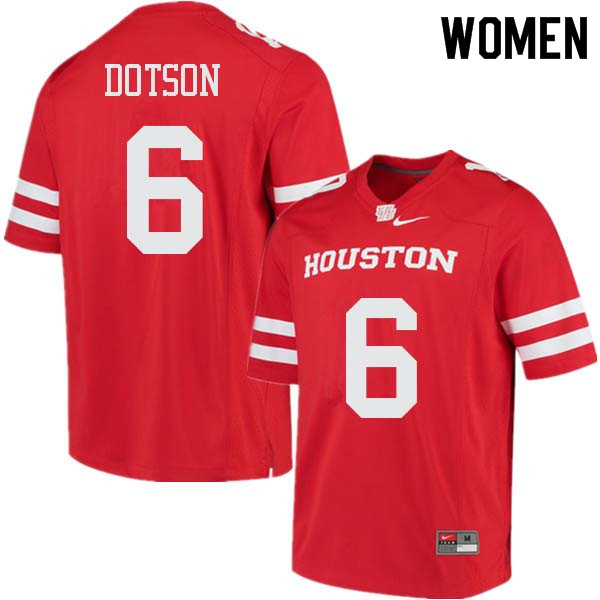 Women #6 Khari Dotson Houston Cougars College Football Jerseys Sale-Red
