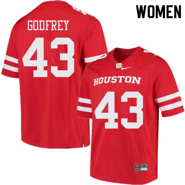 Women #43 Leroy Godfrey Houston Cougars College Football Jerseys Sale-Red
