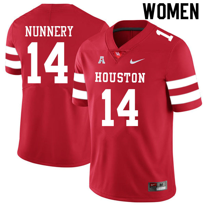 Women #14 Mannie Nunnery Houston Cougars College Football Jerseys Sale-Red