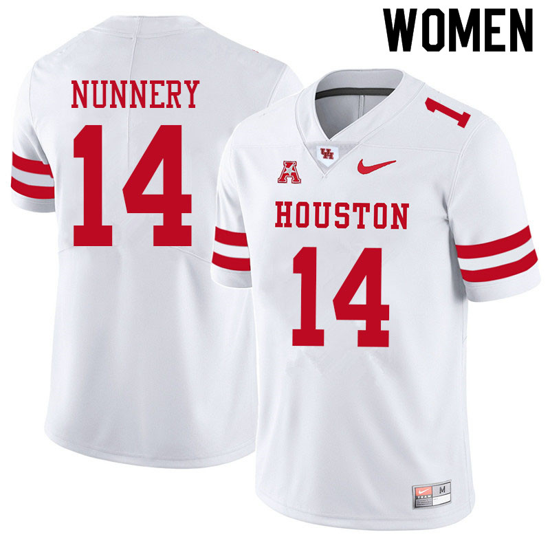 Women #14 Mannie Nunnery Houston Cougars College Football Jerseys Sale-White