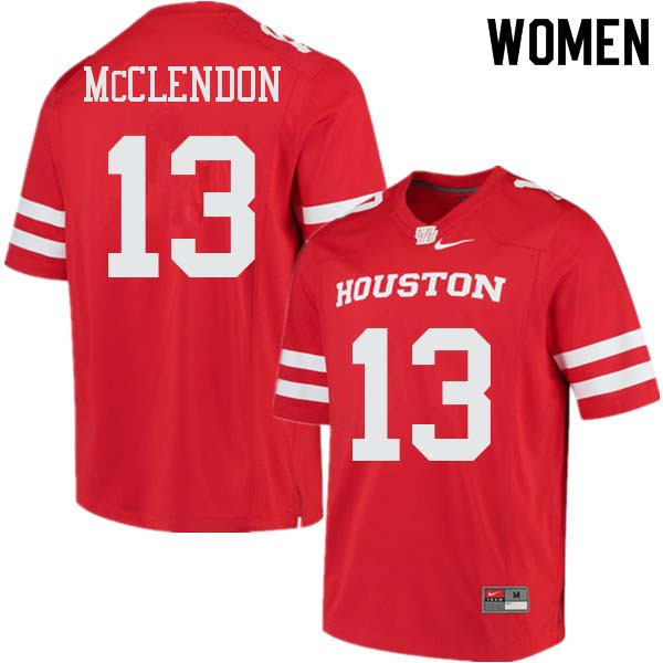 Women #13 Mason McClendon Houston Cougars College Football Jerseys Sale-Red