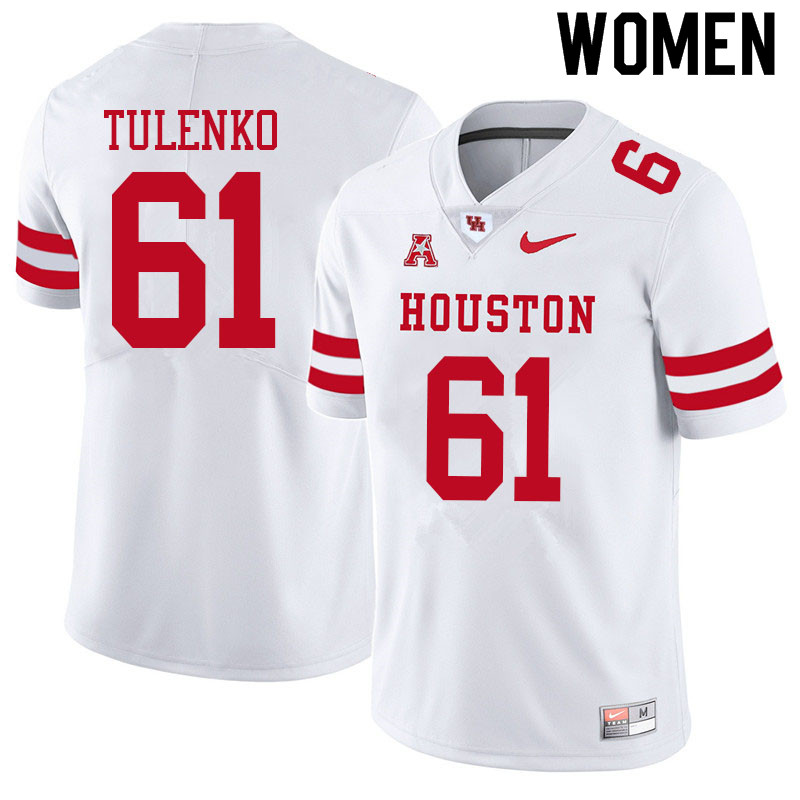 Women #61 Michael Tulenko Houston Cougars College Football Jerseys Sale-White