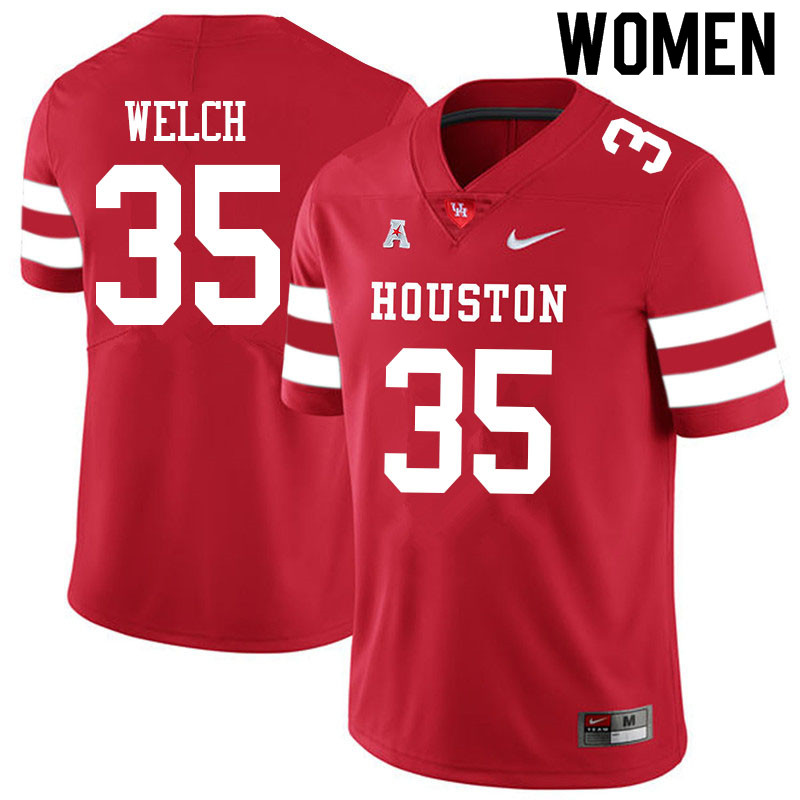 Women #35 Mike Welch Houston Cougars College Football Jerseys Sale-Red
