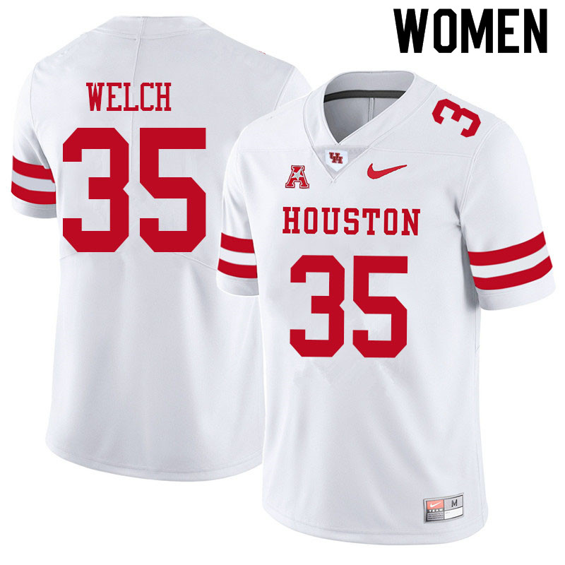 Women #35 Mike Welch Houston Cougars College Football Jerseys Sale-White