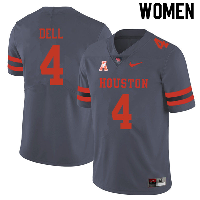 Women #4 Nathaniel Dell Houston Cougars College Football Jerseys Sale-Gray