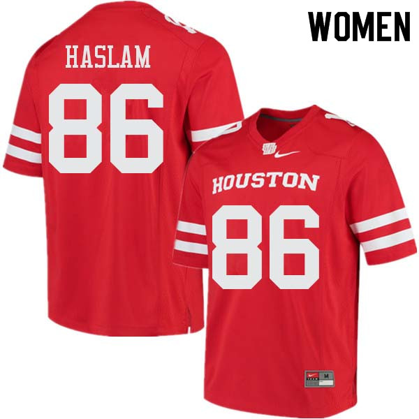 Women #86 Payton Haslam Houston Cougars College Football Jerseys Sale-Red
