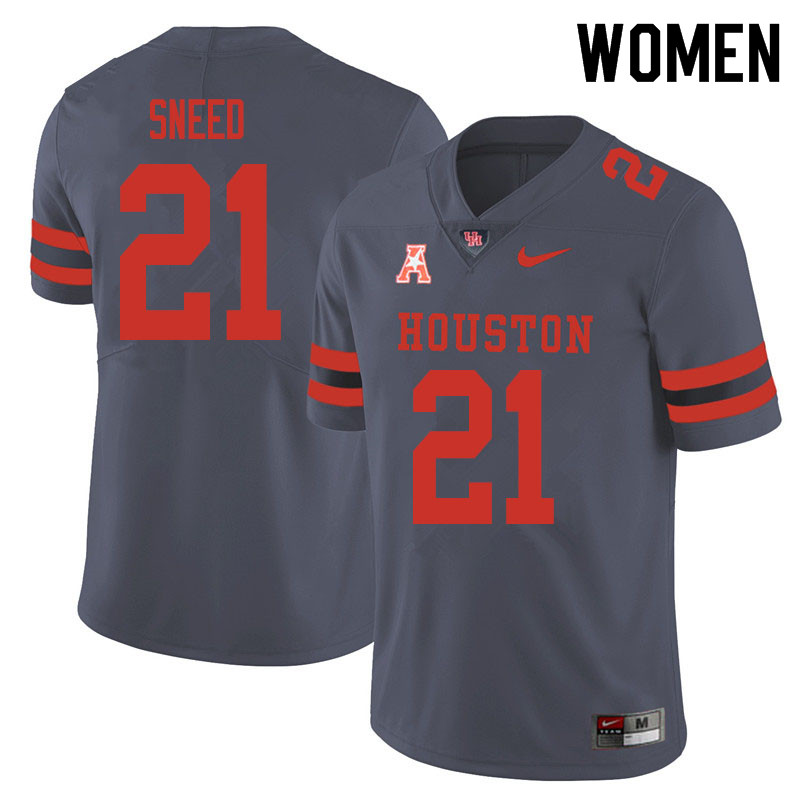 Women #21 Stacy Sneed Houston Cougars College Football Jerseys Sale-Gray