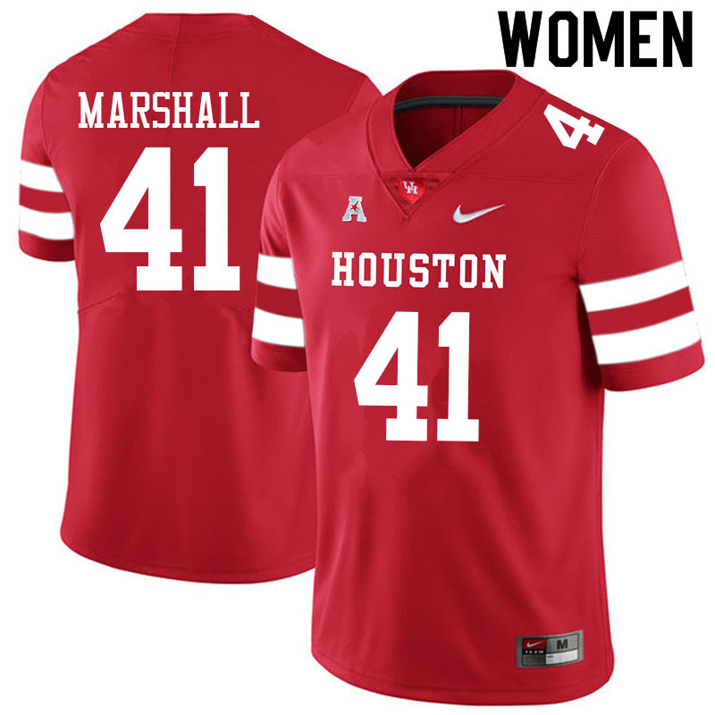 Women #41 T.J. Marshall Houston Cougars College Football Jerseys Sale-Red