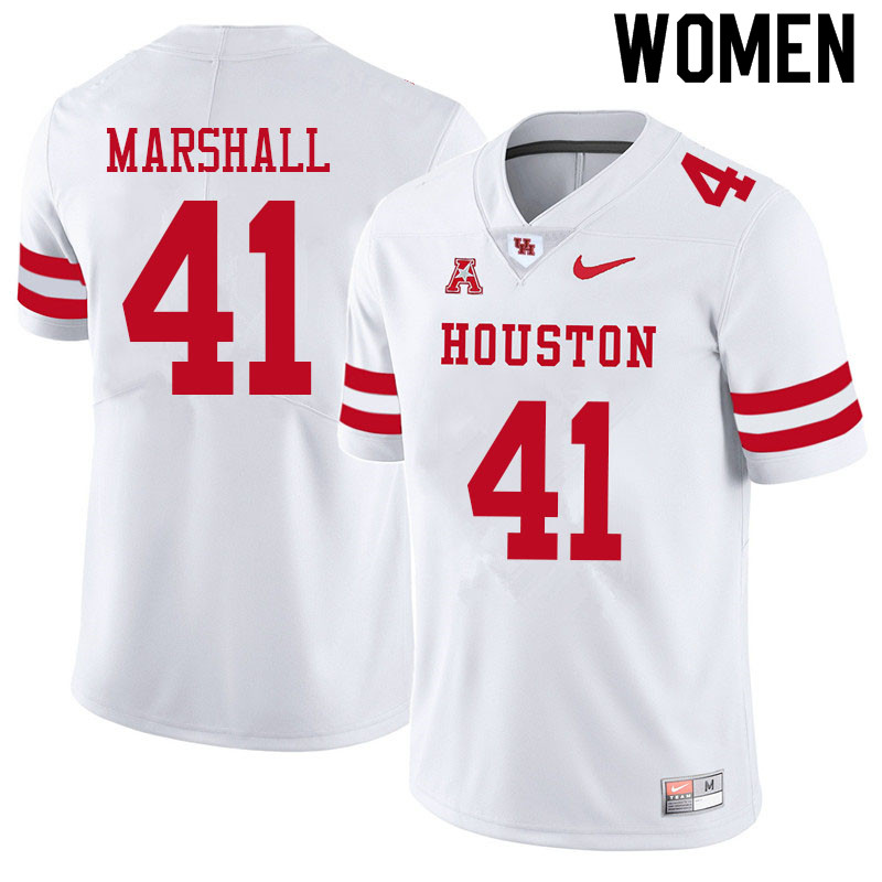 Women #41 T.J. Marshall Houston Cougars College Football Jerseys Sale-White