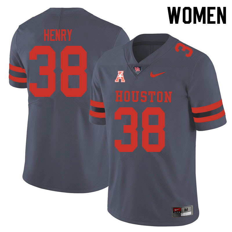 Women #38 Ta'Zhawn Henry Houston Cougars College Football Jerseys Sale-Gray