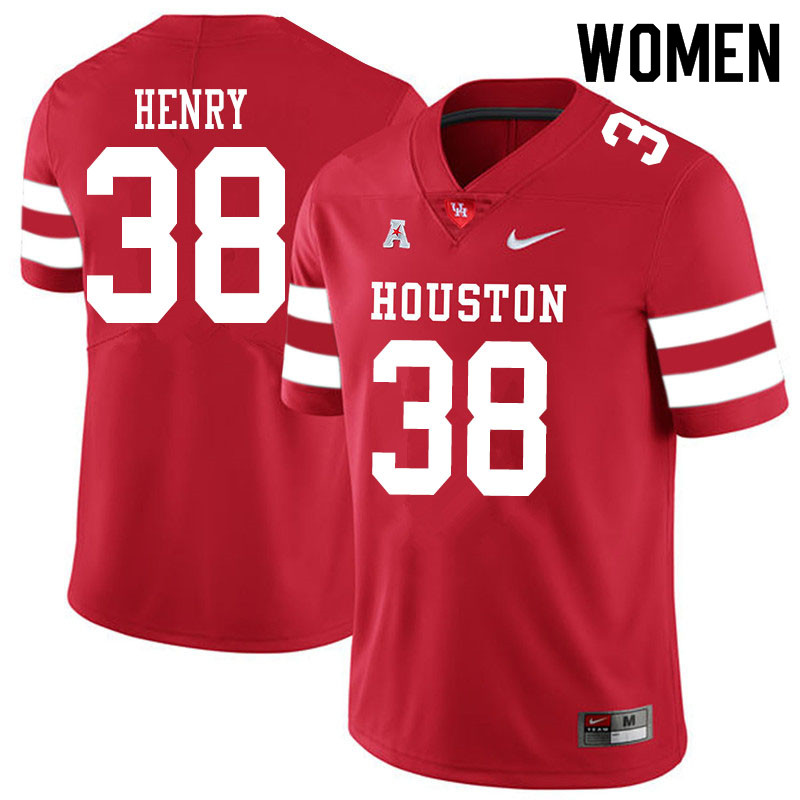Women #38 Ta'Zhawn Henry Houston Cougars College Football Jerseys Sale-Red
