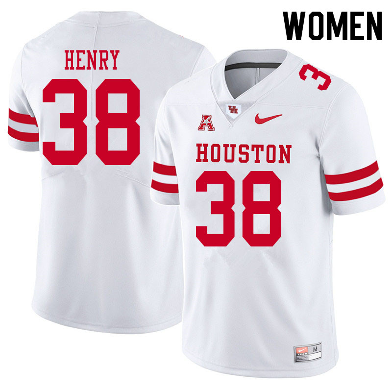 Women #38 Ta'Zhawn Henry Houston Cougars College Football Jerseys Sale-White