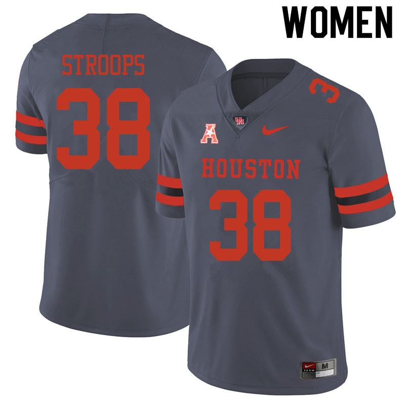 Women #38 Theron Stroops Houston Cougars College Football Jerseys Sale-Gray
