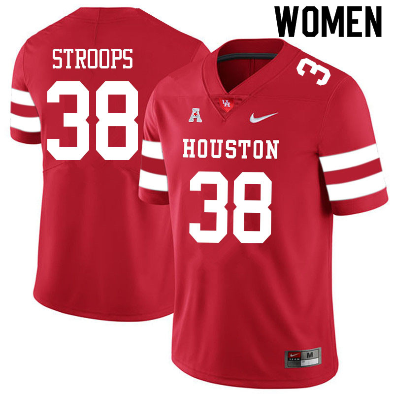 Women #38 Theron Stroops Houston Cougars College Football Jerseys Sale-Red