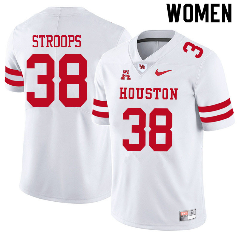 Women #38 Theron Stroops Houston Cougars College Football Jerseys Sale-White