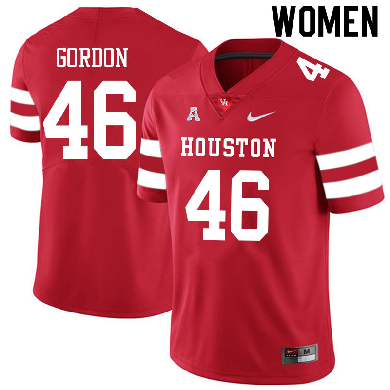 Women #46 Tyler Gordon Houston Cougars College Football Jerseys Sale-Red