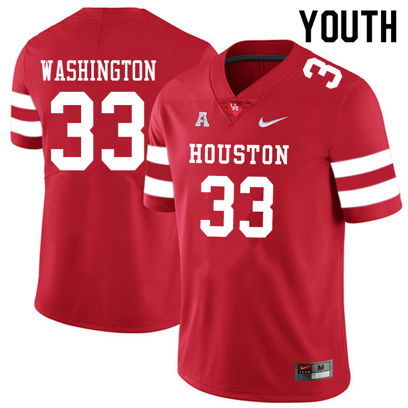 Youth #33 Bryce Washington Houston Cougars College Football Jerseys Sale-Red