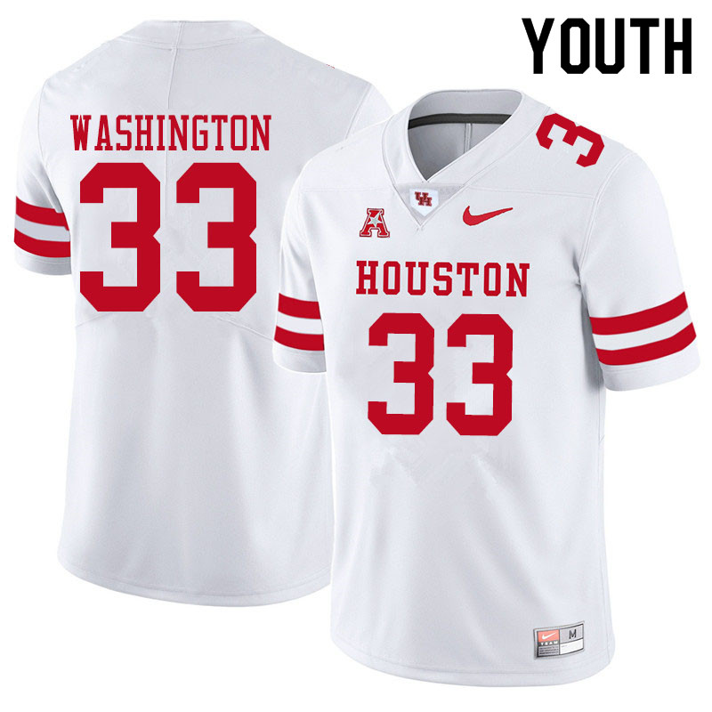 Youth #33 Bryce Washington Houston Cougars College Football Jerseys Sale-White