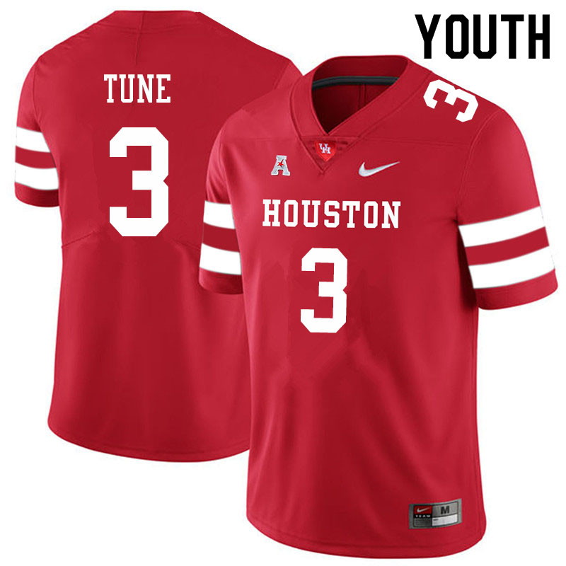 Youth #3 Clayton Tune Houston Cougars College Football Jerseys Sale-Red