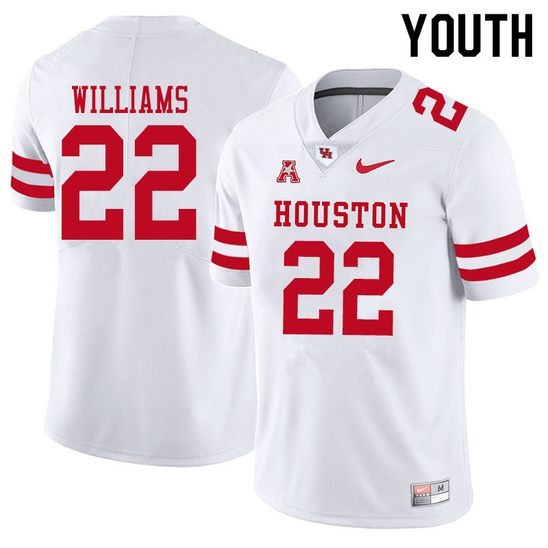 Youth #22 Damarion Williams Houston Cougars College Football Jerseys Sale-White