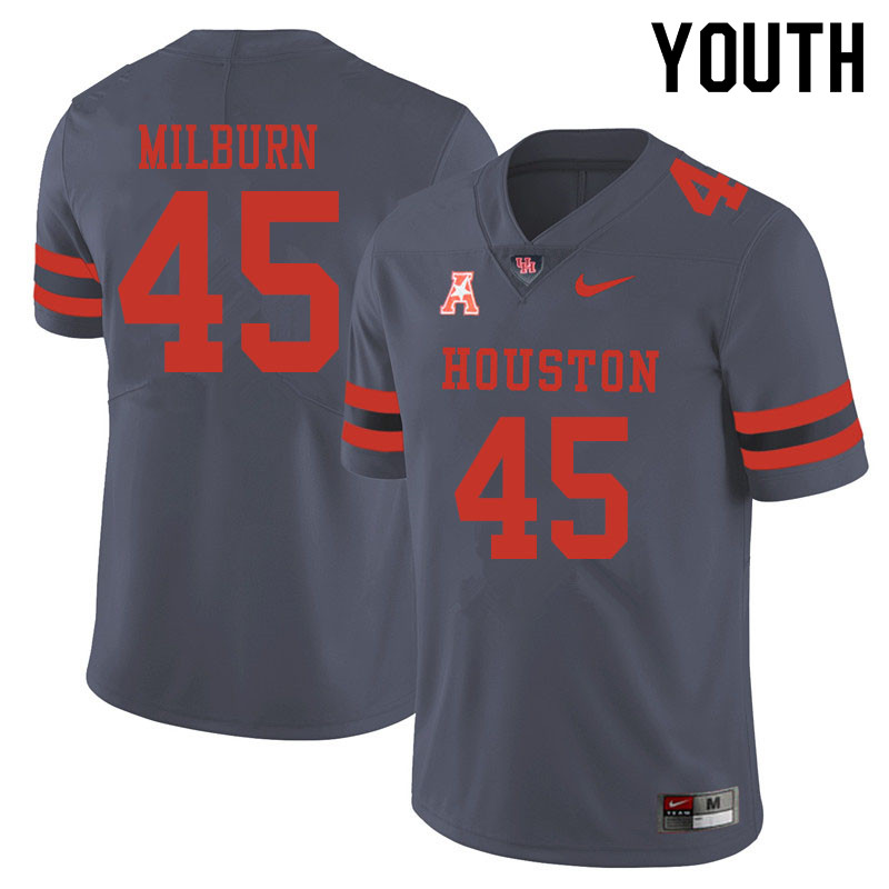 Youth #45 Jordan Milburn Houston Cougars College Football Jerseys Sale-Gray