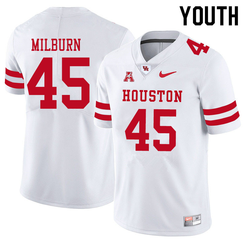 Youth #45 Jordan Milburn Houston Cougars College Football Jerseys Sale-White