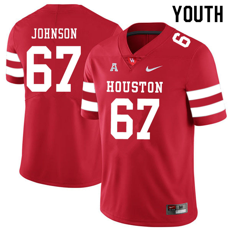 Youth #67 Cam'Ron Johnson Houston Cougars College Football Jerseys Sale-Red